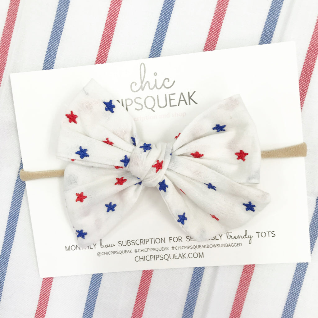Hand-Tied Bow- July Embroidered Star