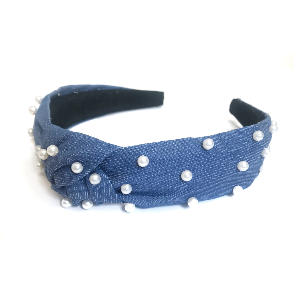 Jewel Headband- Dark Denim Chambray with Pearls