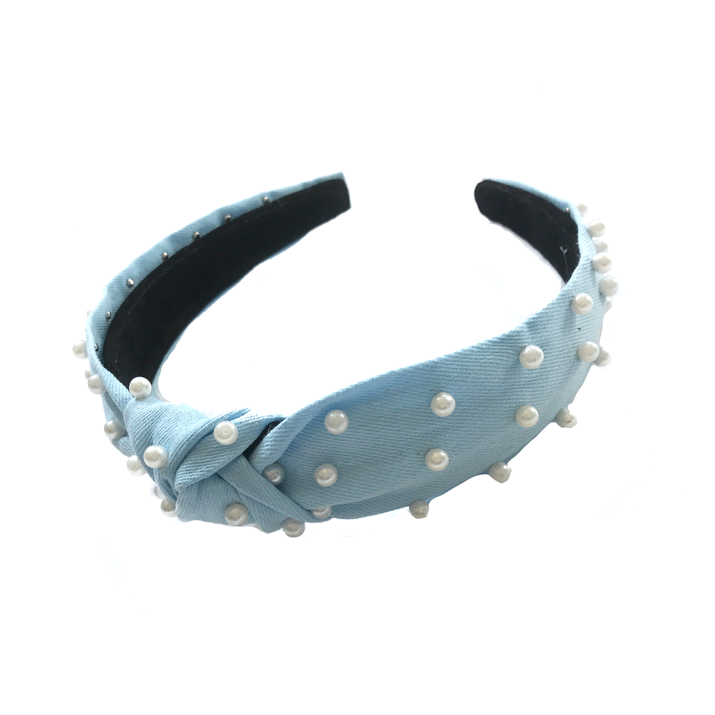 Jewel Headband- Light Chambray with Pearls