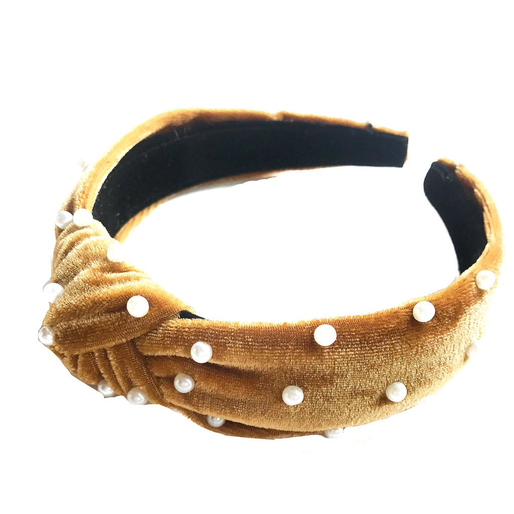 Jewel Headband- Mustard Velvet with Pearls