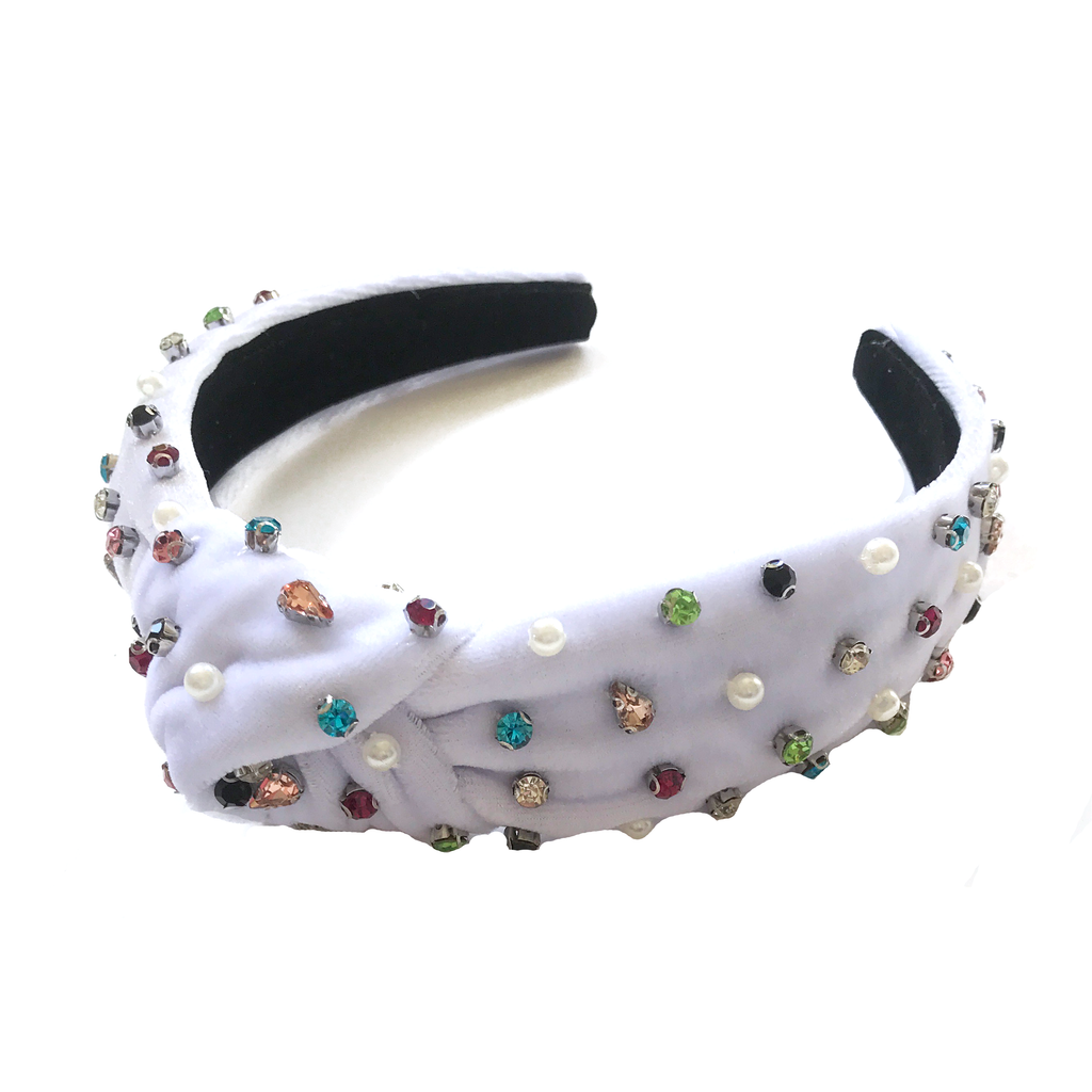 Jewel Headband- Velvet White Crystal