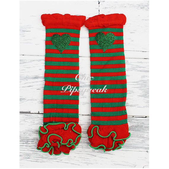 Baby and Kids Leg Warmers, Red and Green Stripes with Ruffles