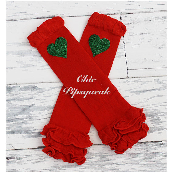 Baby and Kids Leg Warmers, Red Ruffles