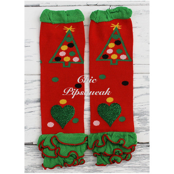 Baby and Kids Leg Warmers, Red Christmas Tree