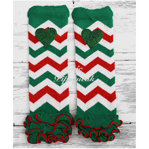 Baby and Kids Leg Warmers, Red White Green Chevron