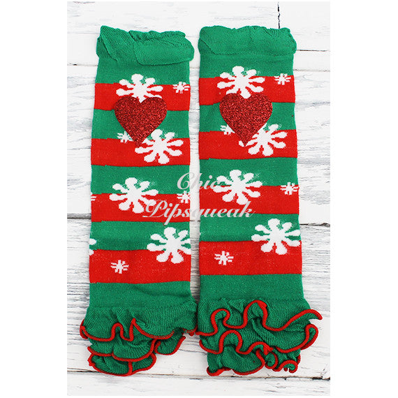 Baby and Kids Leg Warmers, Green and Red Stripe Snowflake