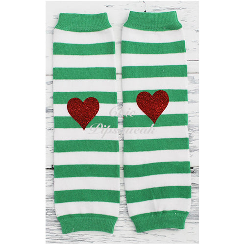 Baby and Kids Leg Warmers, Green and White Stripe