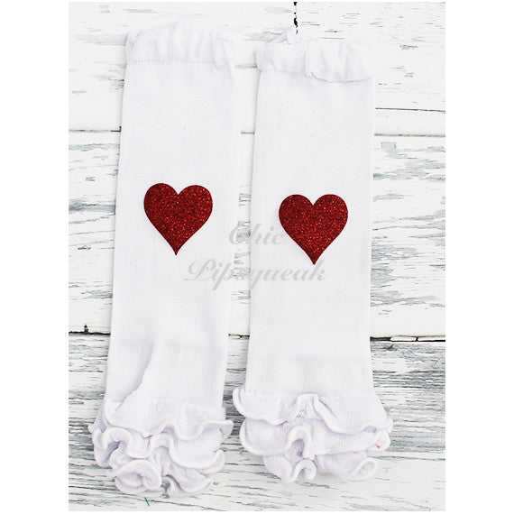 Baby and Kids Leg Warmers, White with Ruffles