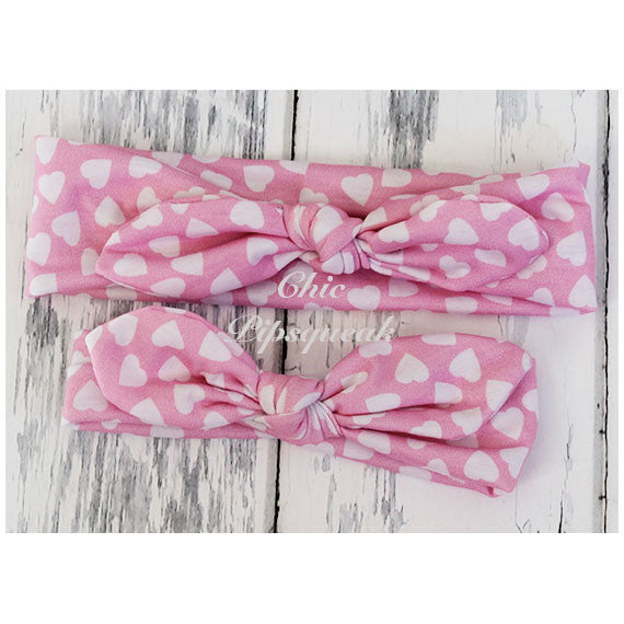 Top Knot Headband, Light Pink with White Hearts