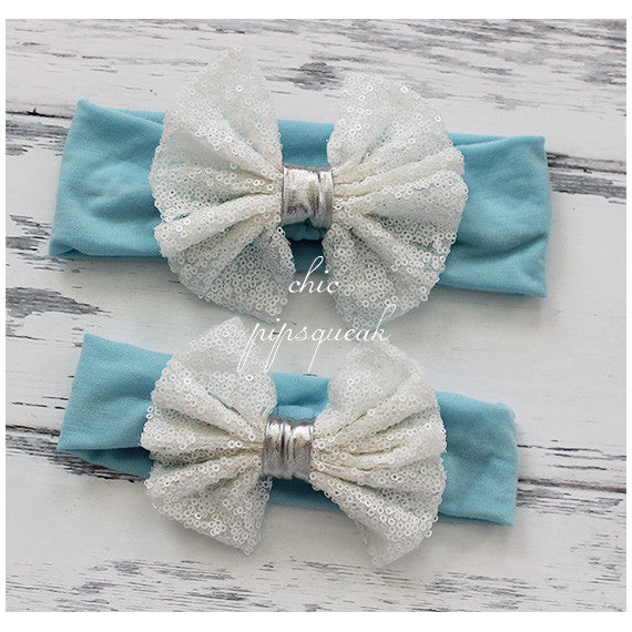 Floppy Sequin Bow Headband, White/Silver Bow on Light Blue Headwrap
