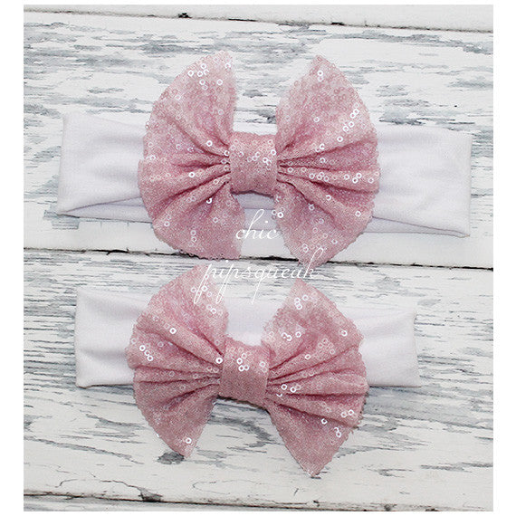 Floppy Sequin Bow Headband, Light Pink on White