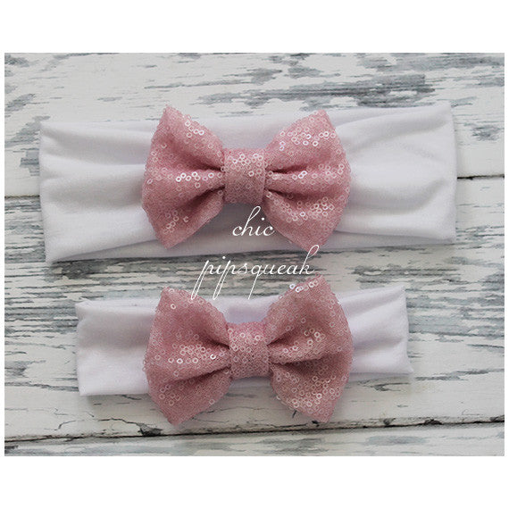 Sequin Bow Headband, Light Pink Sequin Bow on White