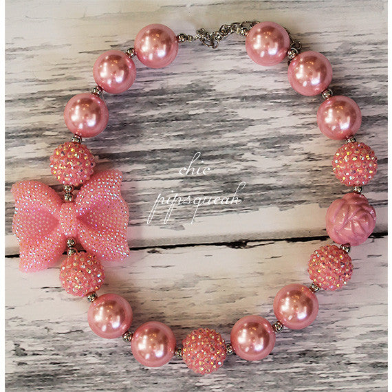 Chunky Bubblegum Baby and Kids Necklace, Light Pink with Bow