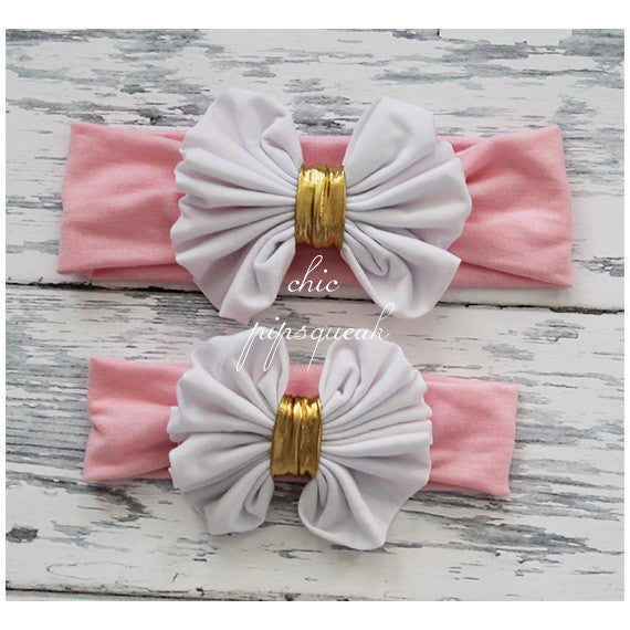 Floppy Bow Headband, White and Gold Bow on Light Pink