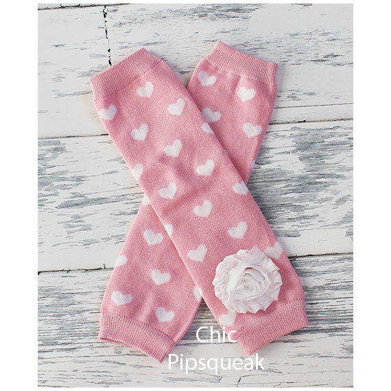 Baby and Kids Leg Warmers, Light Pink White Hearts