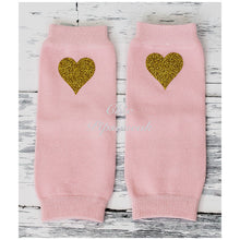Baby and Kids Leg Warmers, Pale Pink with Gold Hearts