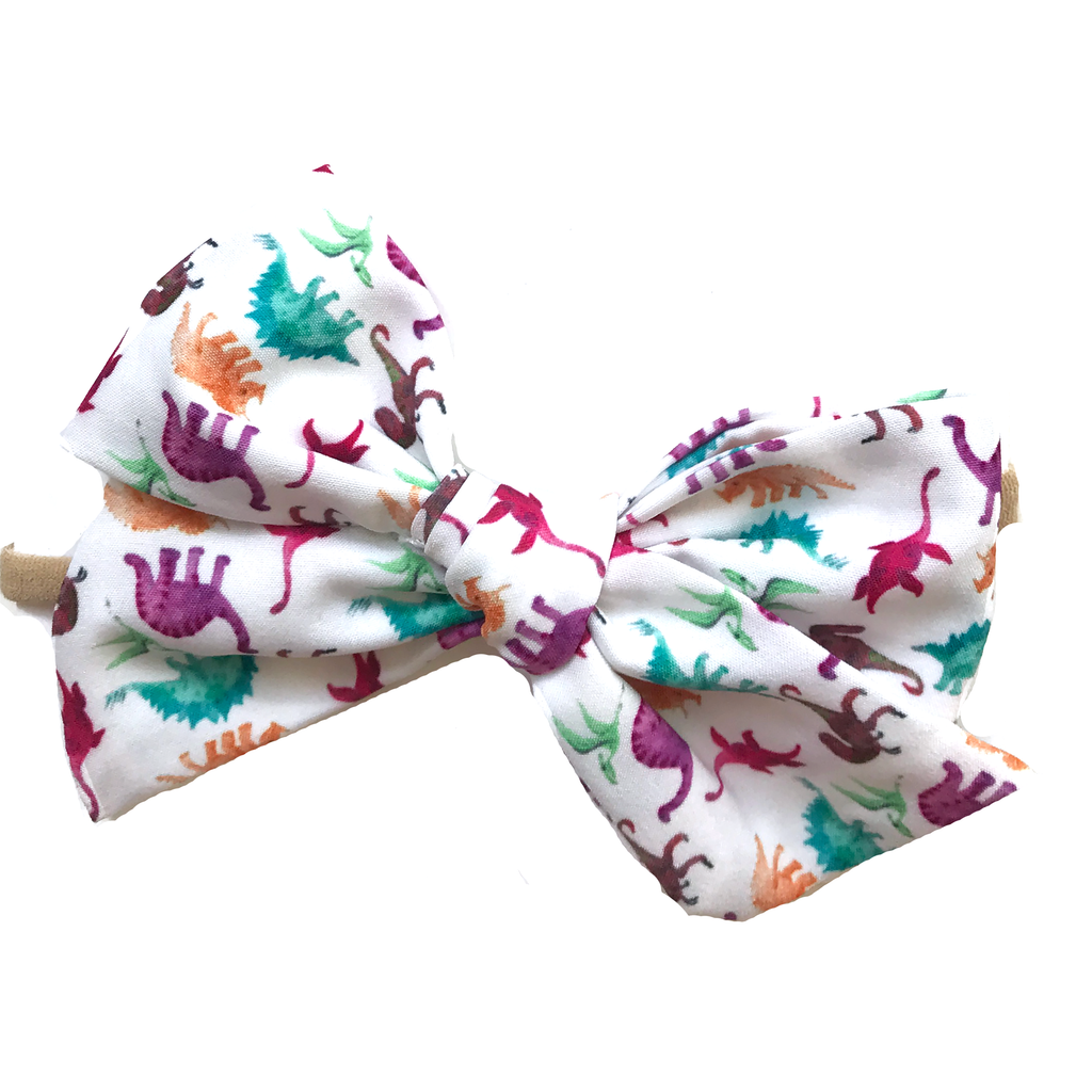 Oversized Hand Tied Bow- Colorful Dinosaur