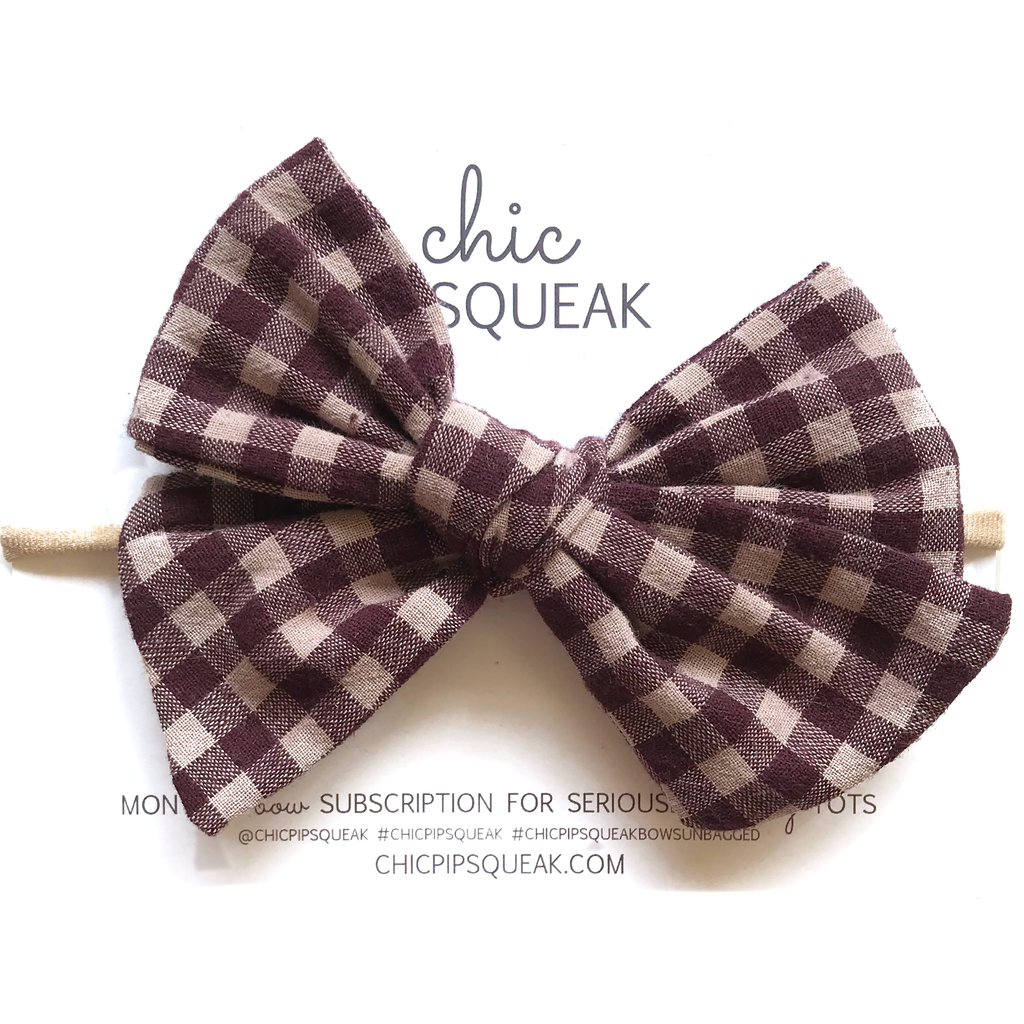 Oversized Hand Tied Bow- Cranberry Buffalo