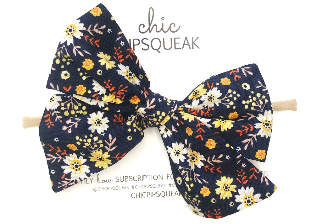 Oversized Hand Tied Bow- Navy Fall Floral