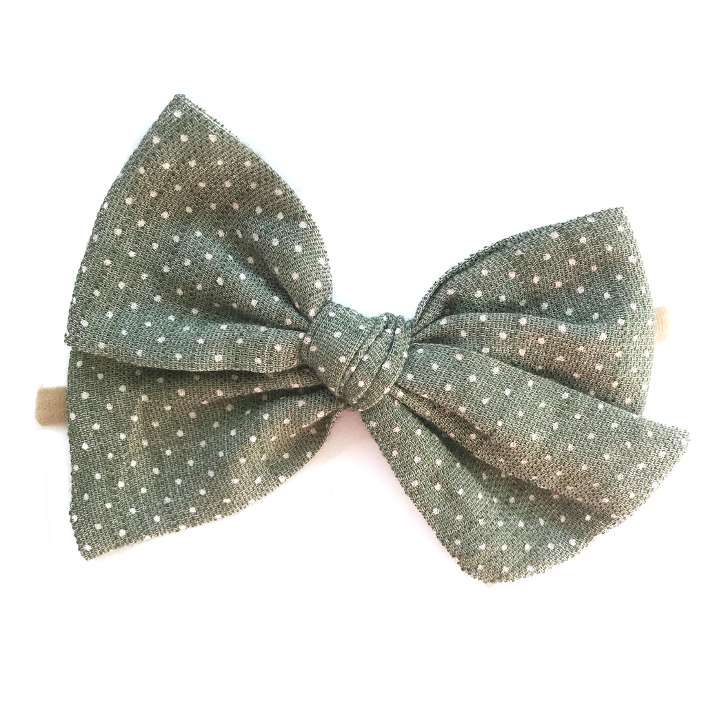 Hand Tied Bow - Vintage Green Dot