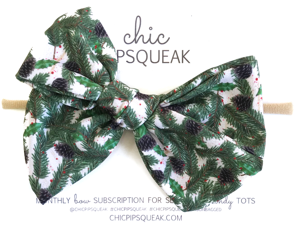 Oversized Hand Tied Bow- Holiday Pine