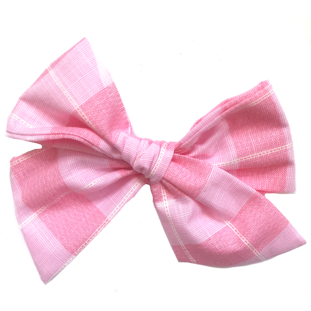 Oversized Hand Tied Bow- Large Pink Check