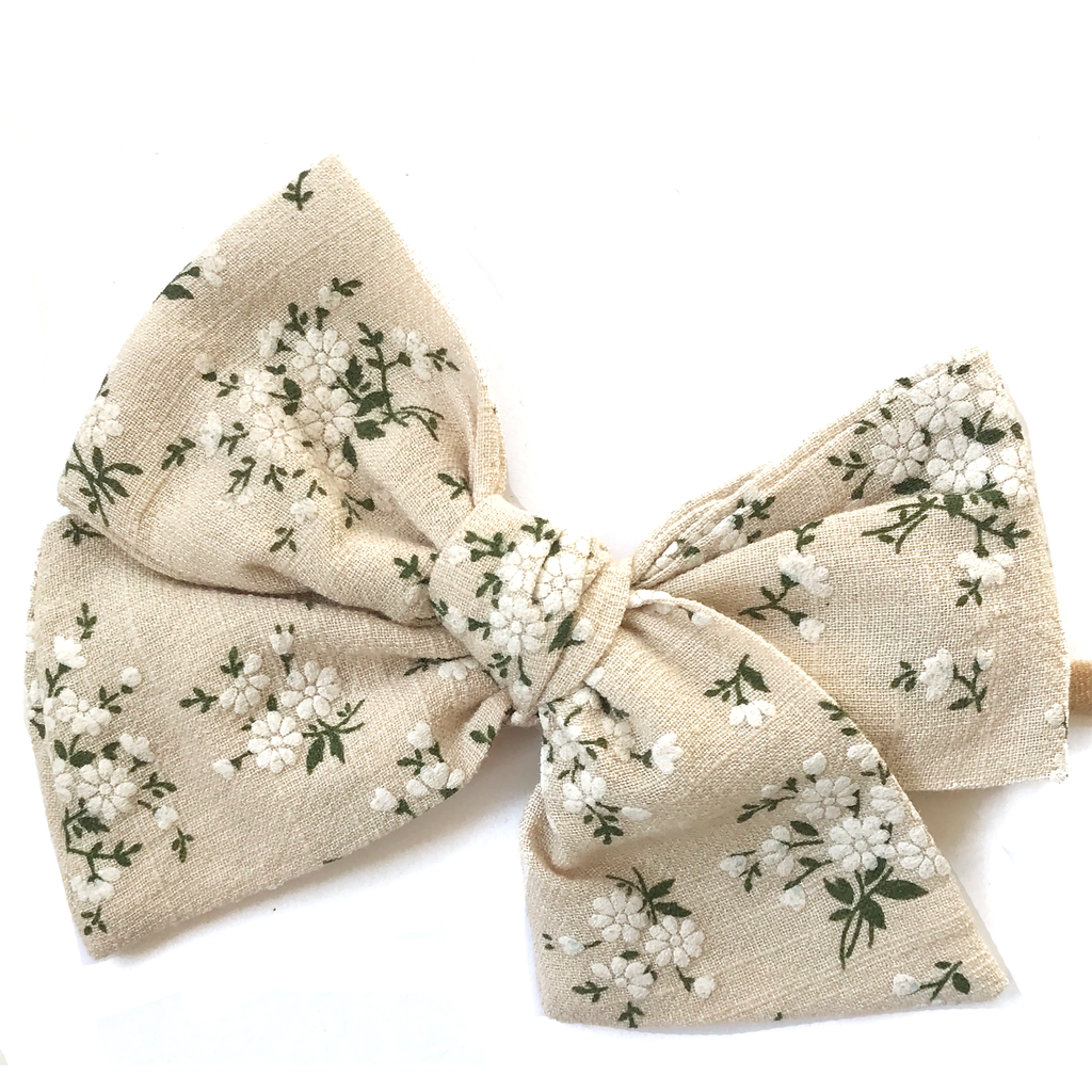 Oversized Hand Tied Bow- Natural Fall Floral