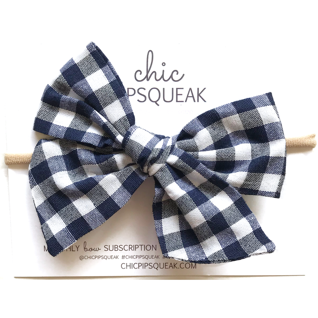 Oversized Hand Tied Bow- Navy and White Buffalo