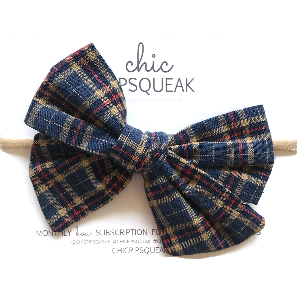 Oversized Hand Tied Bow- Navy Plaid