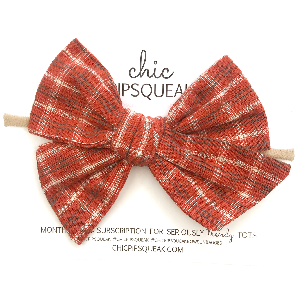 Oversized Hand Tied Bow- Orange Plaid