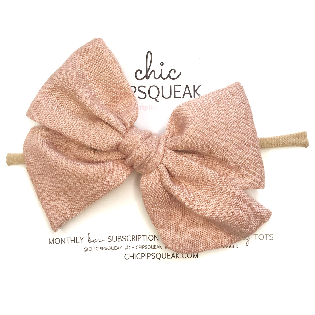 Oversized Hand Tied Bow- Pale Blush Soft Flannel