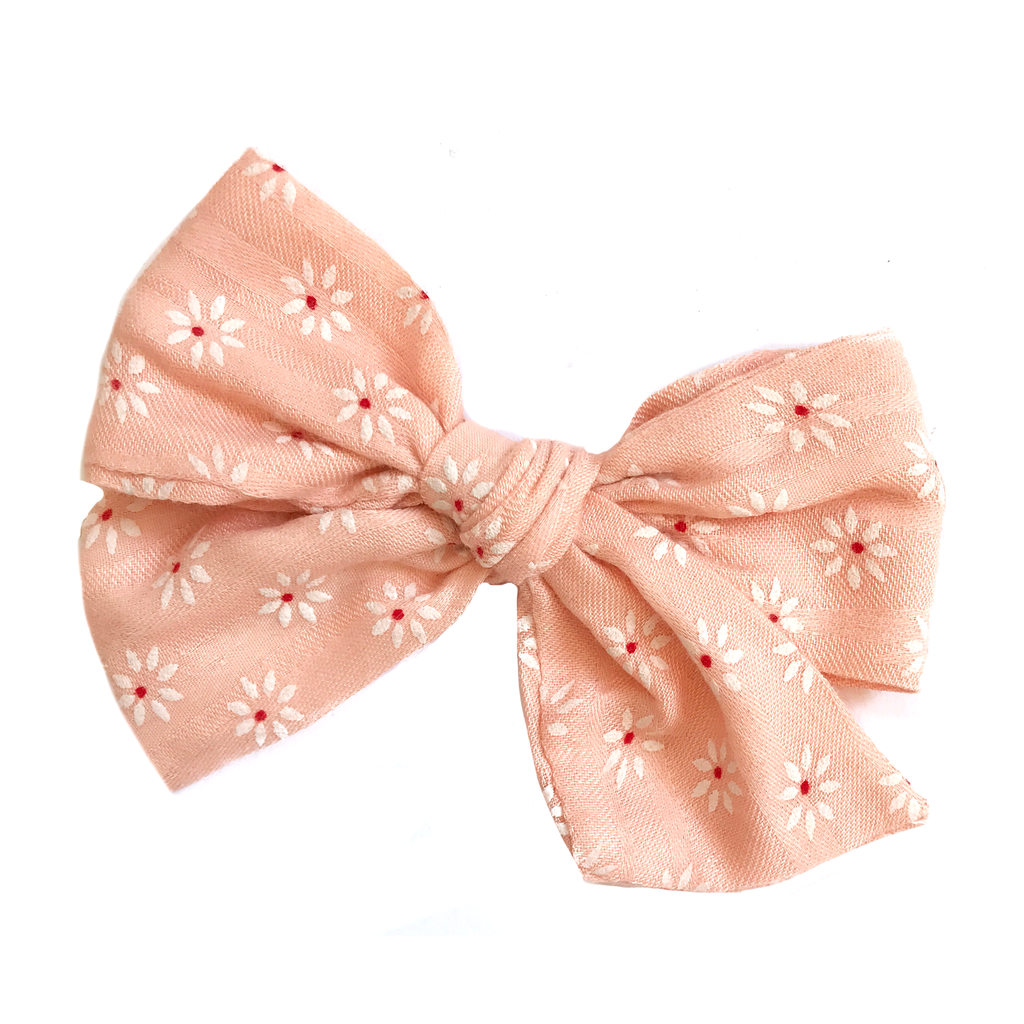 Oversized Hand Tied Bow- Peachy Pink White Daisy