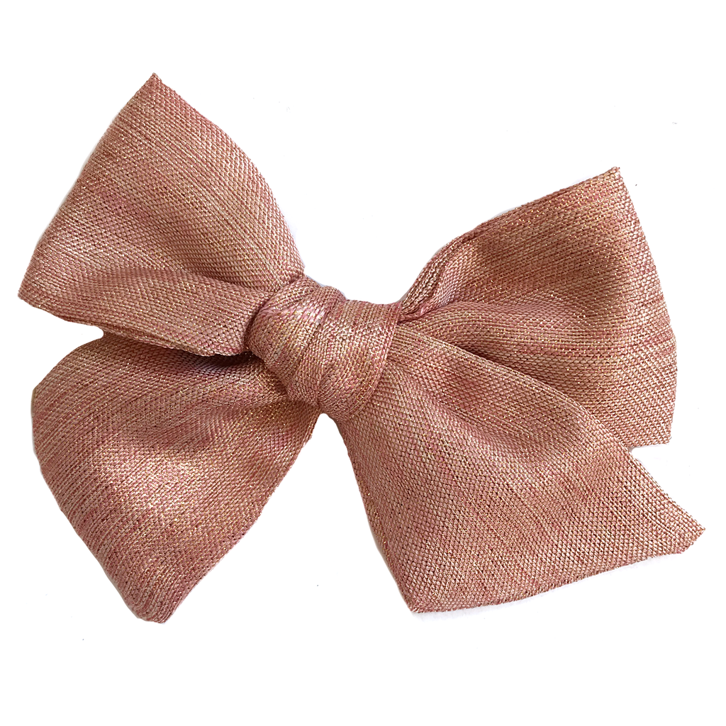 Oversized Hand Tied Bow- Light Pink Shimmer