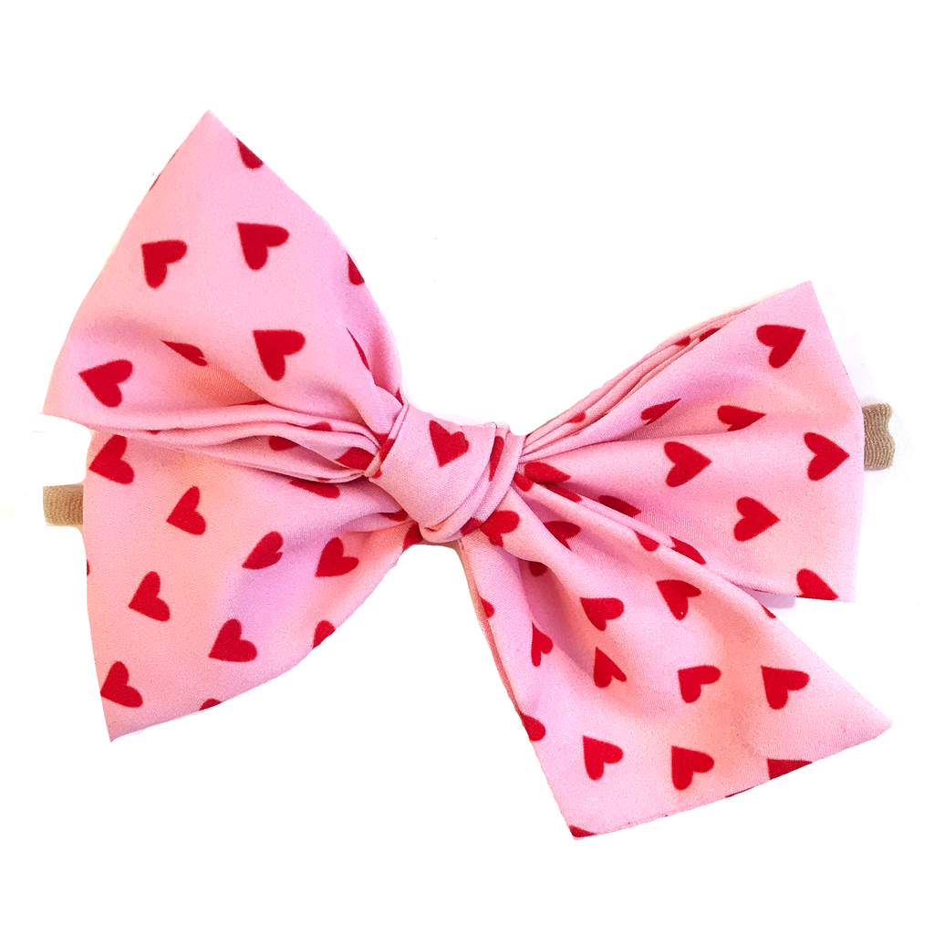 Oversized Hand Tied Bow- Red Hearts on Pink