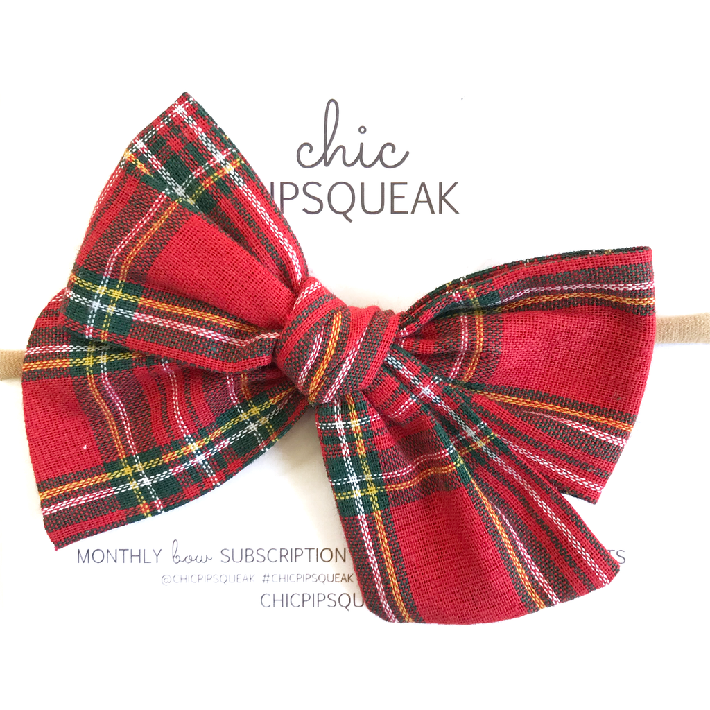 Oversized Hand Tied Bow- Red Holiday Tartan