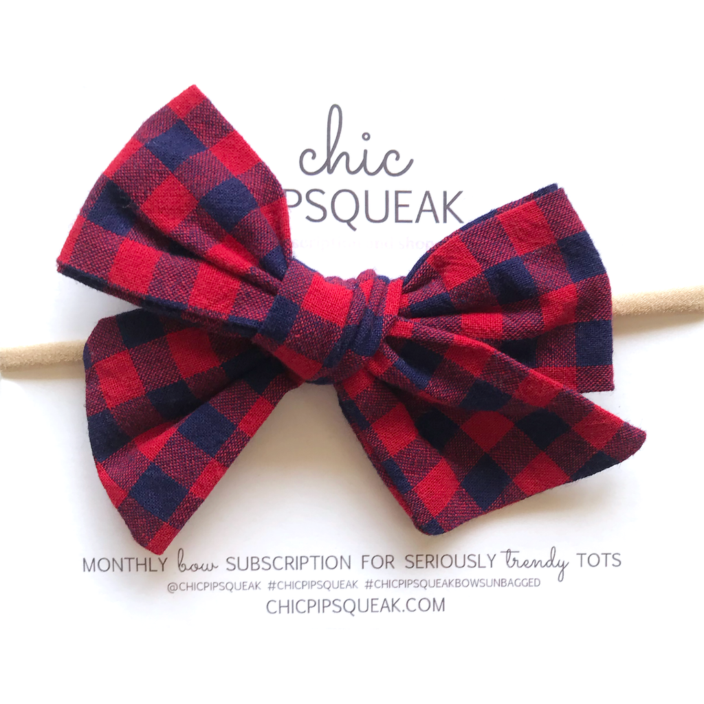 Hand-Tied Bow - Red and Navy Buffalo