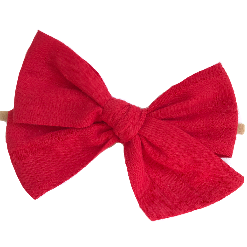 Oversized Hand Tied Bow- Red Vintage