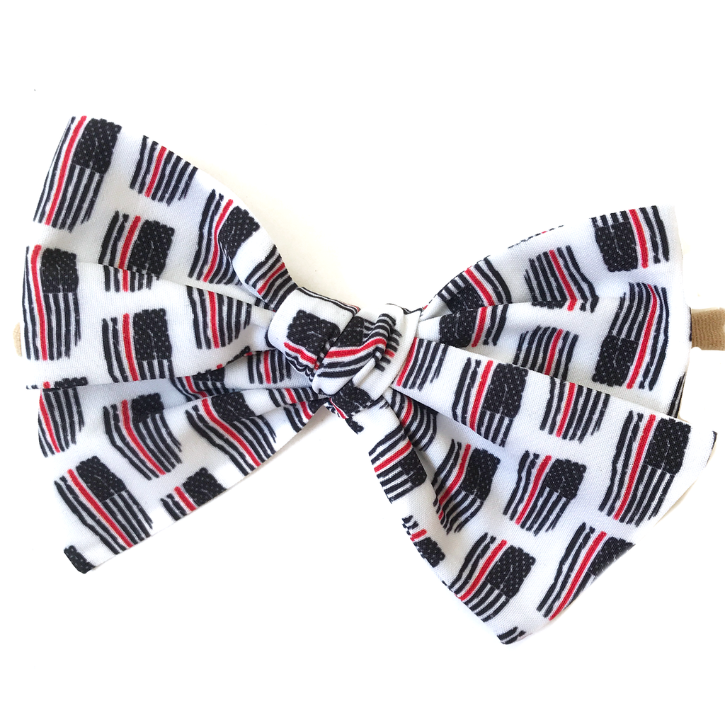 Oversized Hand Tied Bow- Thin Red Line Flag