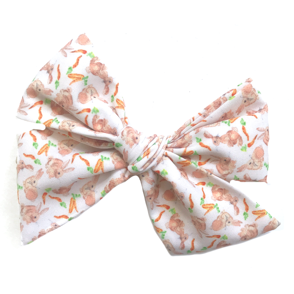 Oversized Hand Tied Bow- White Bunny