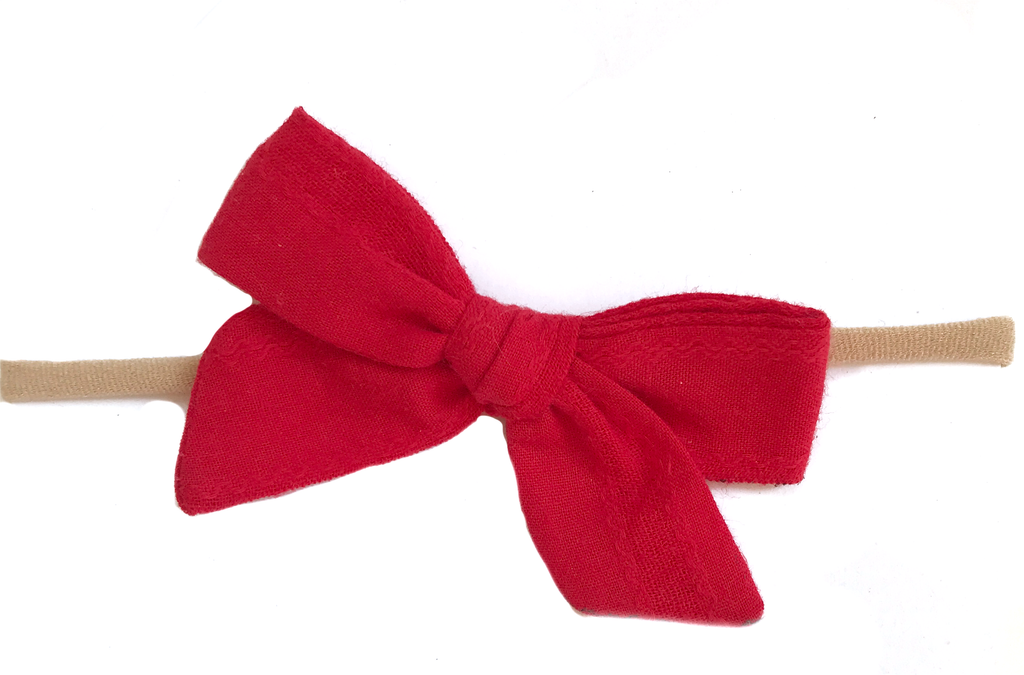 Petite Hand-Tied Bow -Red Vintage