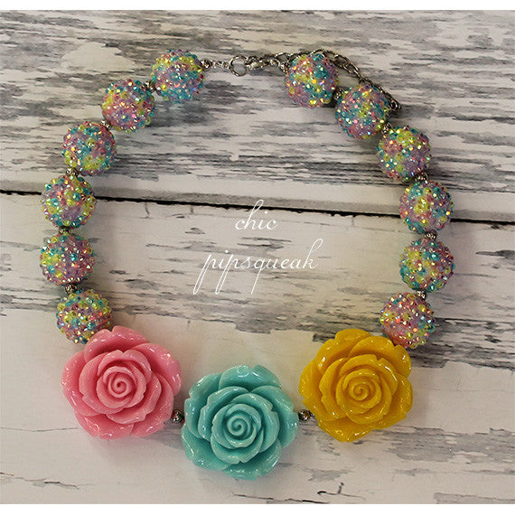 Chunky Bubblegum Baby and Kids Necklace, Three Pastel Flowers