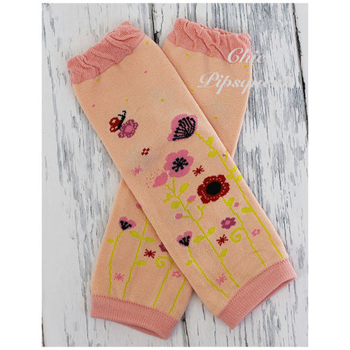 Baby and Kids Leg Warmers, Peach Spring Flowers