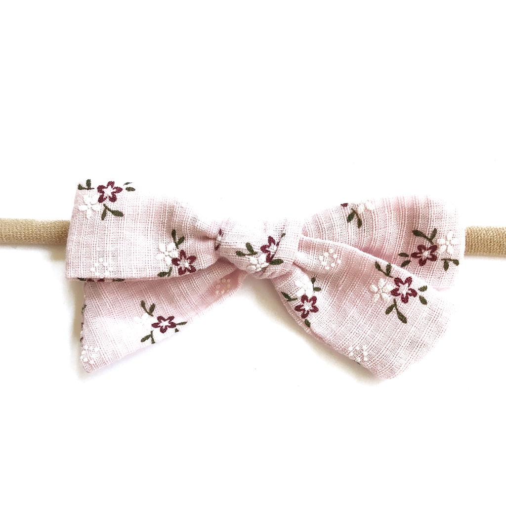 Petite Hand-Tied Bow - Baby Pink Floral