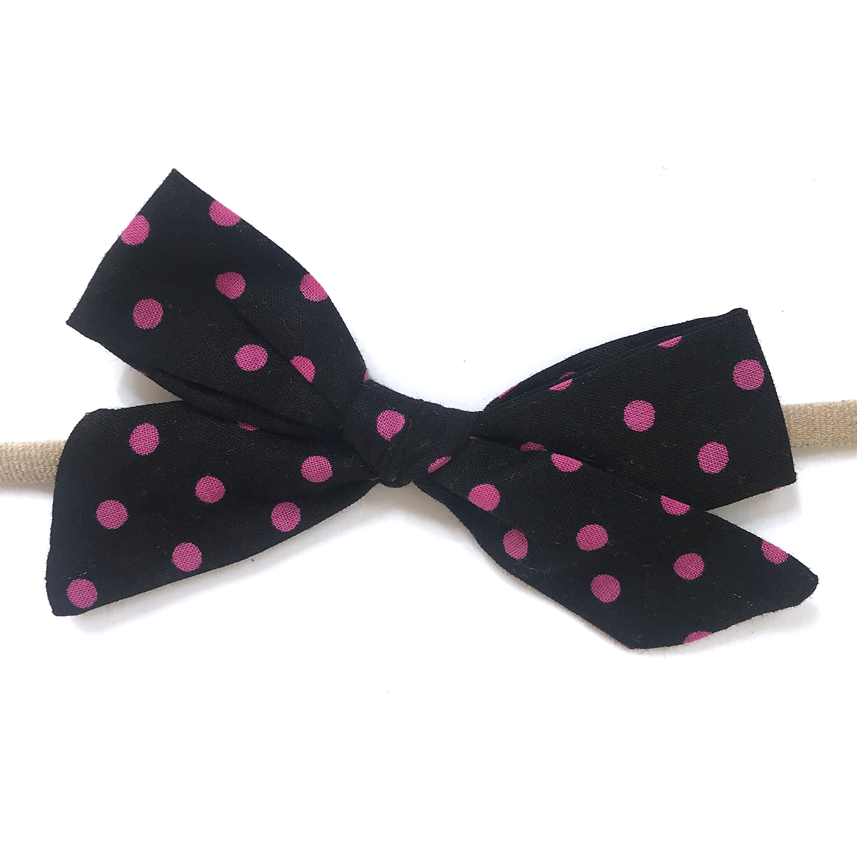 Petite Hand-Tied Bow -Black with Hot Pink Dots