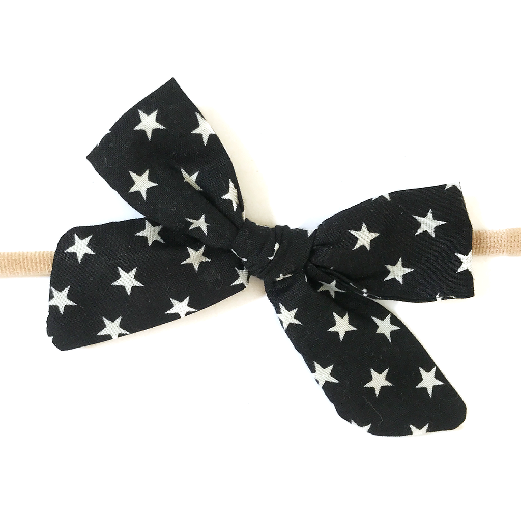 Petite Hand-Tied Bow - Black with White Stars