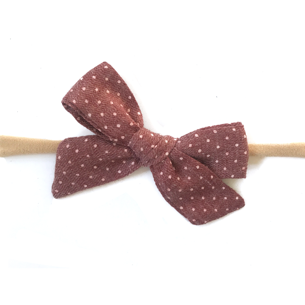 Petite Hand-Tied Bow - Brick Red Dot