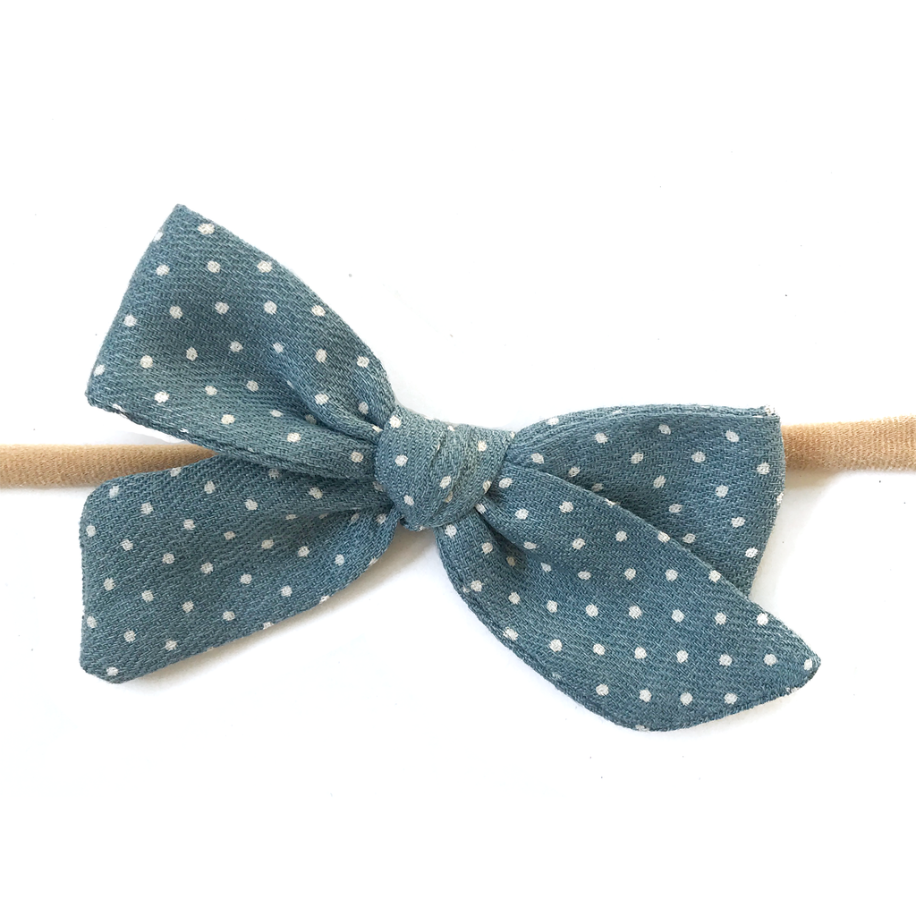 Petite Hand-Tied Bow - Fall Blue Dot