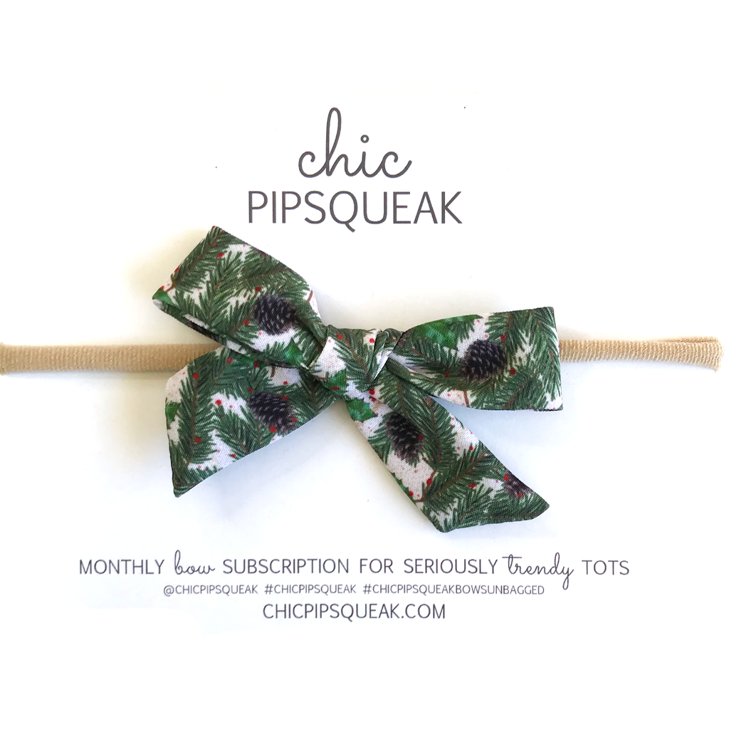 Petite Hand-Tied Bow - Holiday Pine