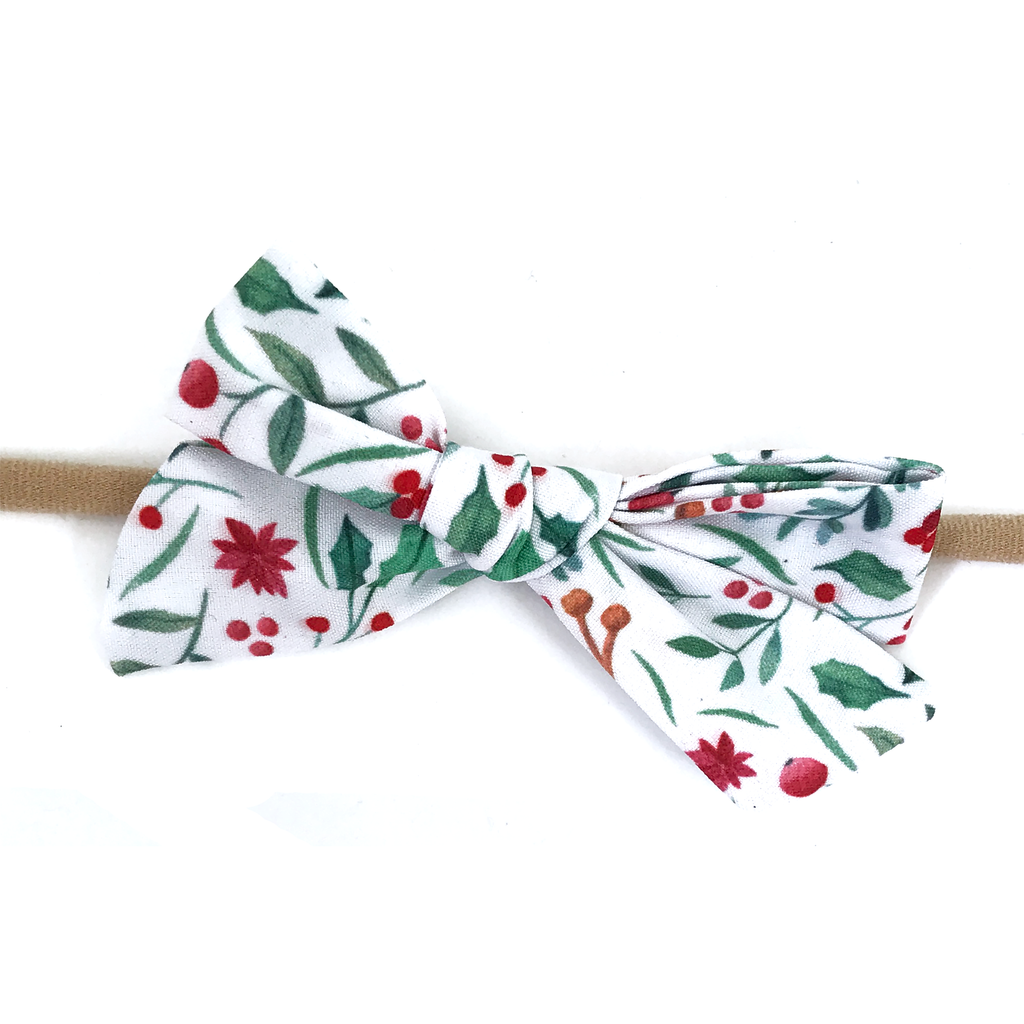 Petite Hand-Tied Bow - Holly Holiday