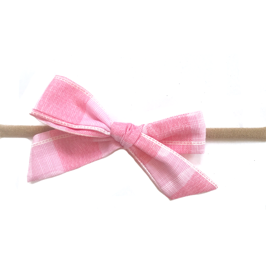 Petite Hand-Tied Bow -Large Pink Check